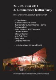 22. - 26. Juni 2011 3. Limmattaler KulturParty - Spektrum Geroldswil