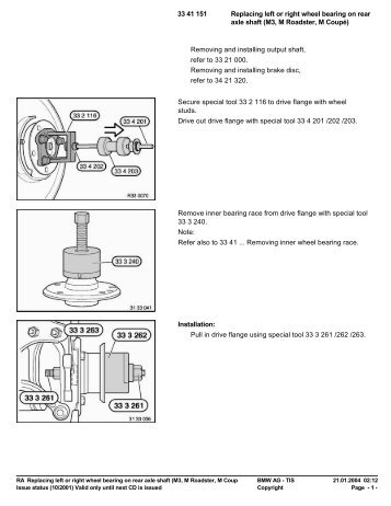 RA Replacing left or right wheel bearing on rear axle shaft - Rfdm.com