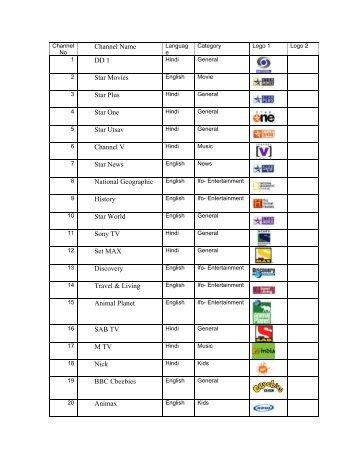 Channel Name DD 1 Star Movies Star Plus Star One Star Utsav ...