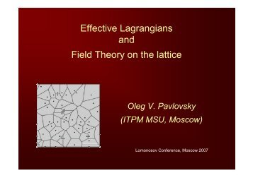 Effective Lagrangians and Field Theory on the lattice