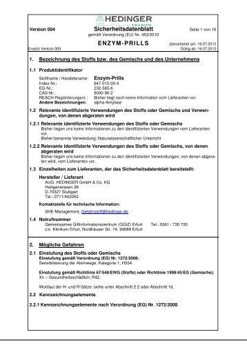 Sicherheitsdatenblatt ENZYM-PRILLS - Hedinger