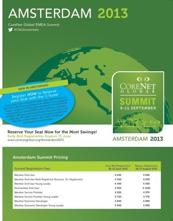 Reserve Your Seat Now for the Most Savings ... - CoreNet Global