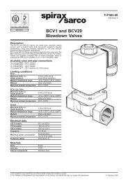 BCV1 and BCV20 Blowdown Valves - Spirax Sarco