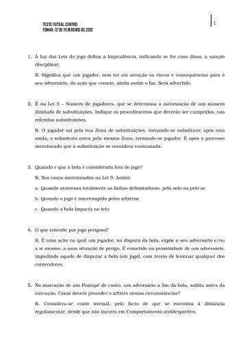 TESTE FUTSAL CENTRO 1 TOMAR, 12 DE FEVEREIRO DE 2012 1 ...