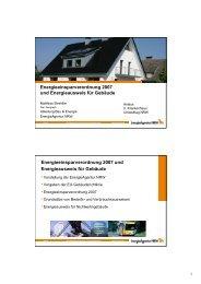 Energieeinsparverordnung 2007 und Energieausweis für Gebäude ...