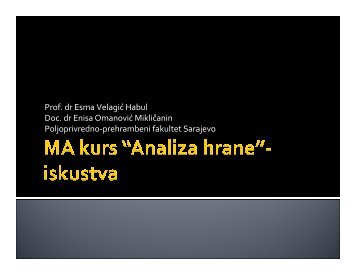 Prof. dr Esma Velagić Habul Doc. dr Enisa Omanović ... - WUS Austria