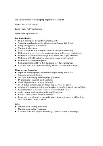 job description for housekeeping supervisor seasonal owh housekeeping responsibilities housekeeping job duties. Resume Example. Resume CV Cover Letter