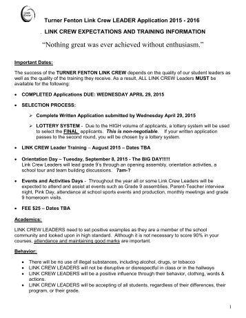 2015-2016 Link Crew Application