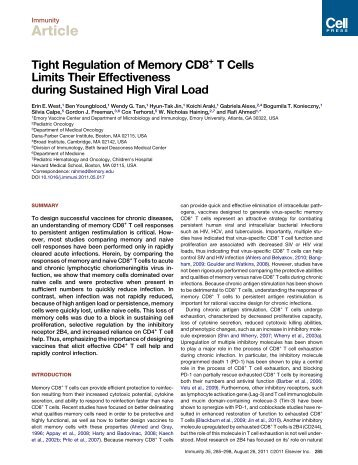 Tight Regulation of Memory CD8+ T Cells Limits ... - ResearchGate