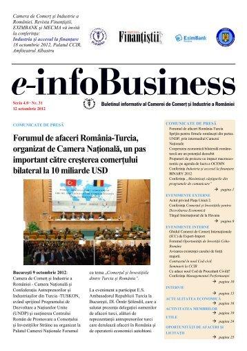 e-infoBusiness nr. 31/12.10.2012 - Camera de Comert si Industrie a ...