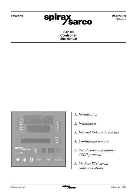 EX mod SPIRAX SARCO Type 121 Temperature Control System