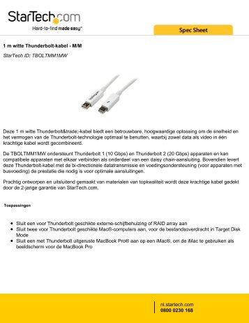 1 m witte Thunderbolt-kabel - M/M StarTech ID: TBOLTMM1MW ...