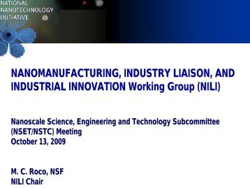 INDUSTRIAL INNOVATION Working Group (NILI) - National ...