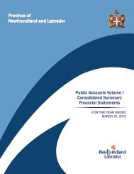 Volume I - Finance - Government of Newfoundland and Labrador