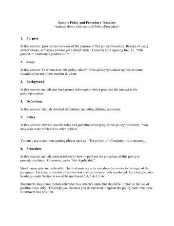 Ahs policy and procedure template for Policy and procedure document template