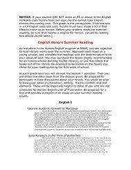 English Honors Summer Reading - Craven County Schools