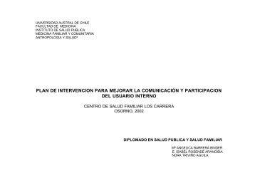 Plan de intervencion CESFAM Los Carrera - Facultad de Medicina