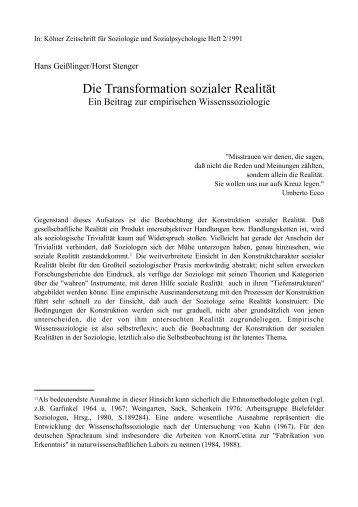 Zur Transformation sozialer Realität - story dealer berlin