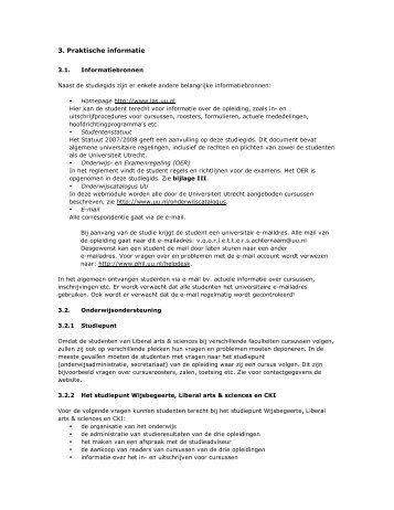 Praktische informatie - Liberal Arts and Sciences - Universiteit Utrecht