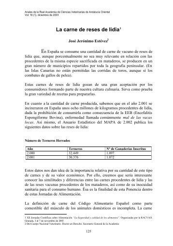 La carne de reses de lidia1 - Instituto de Academias de Andalucía