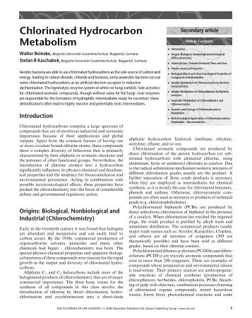 Chlorinated Hydrocarbon Metabolism - School of Life Sciences