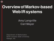 Introduction to Markov Based Information Retrieval ... - Carl Meyer