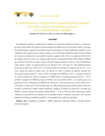 actividad mental y cognitiva de los estudiantes del régimen anual de ...