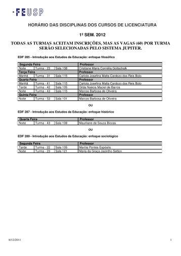 horário das disciplinas dos cursos de licenciatura 1º sem. 2012 ...