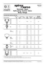 Normally Open Self-acting Control Valve Body Range - Spirax Sarco