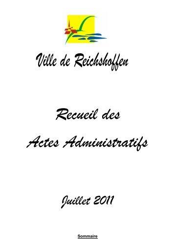 Recueil des Actes Administratifs Juillet 2011