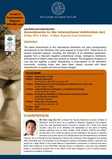 Amendments to the International Arbitration Act - Singapore ...