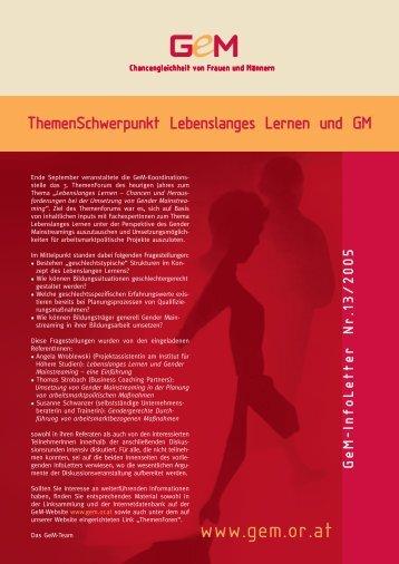 Lebenslanges Lernen und Gender Mainstreaming - L&R ...