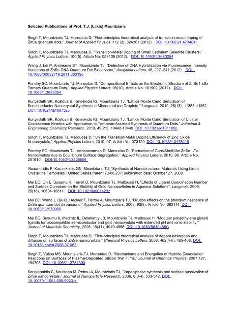 Selected Publications of Prof  T J  (Lakis) Mountziaris Singh T