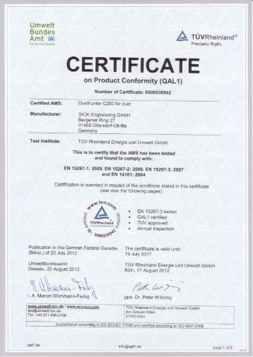 QAL1 Certificat - Multi Instruments