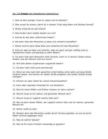 Die Fragen des Heidelberger Katechismus als pdf zum Herunterladen