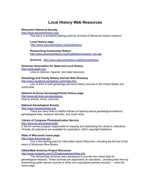 Local History Web Resources - Waukesha County Federated Library ...