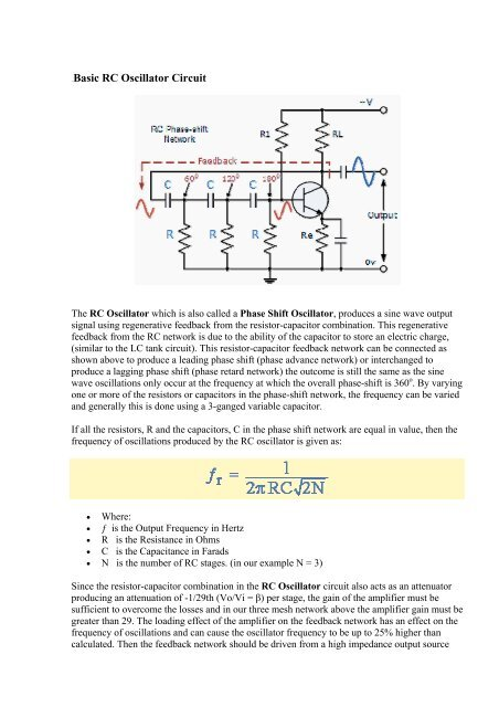 Basic RC Oscillator Circuit