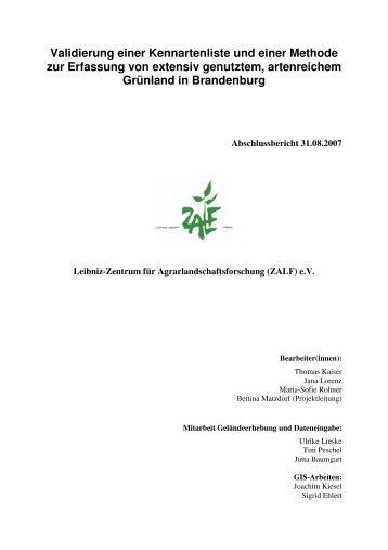 Validierung einer Kennartenliste und einer Methode zur Erfassung ...