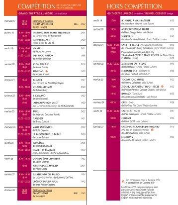 Grille des horaires de projection - Afc