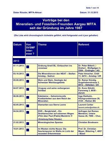 Vorträge bei den Mineralien- und Fossilien-Freunden Aargau MFFA ...