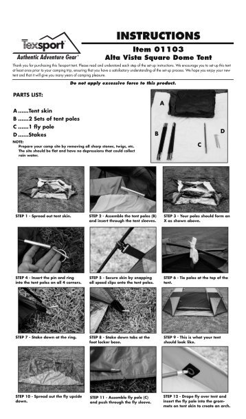 01103 Alta Vista Tent - Texsport  sc 1 st  Yumpu & INSTRUCTIONS Item 02903 Silver Dining Canopy - Texsport