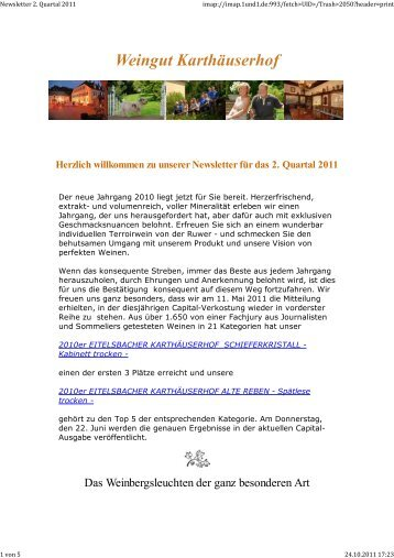 Newsletter 2. Quartal 2011