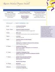 Reunion Weekend Program Schedule - The Ethel Walker School