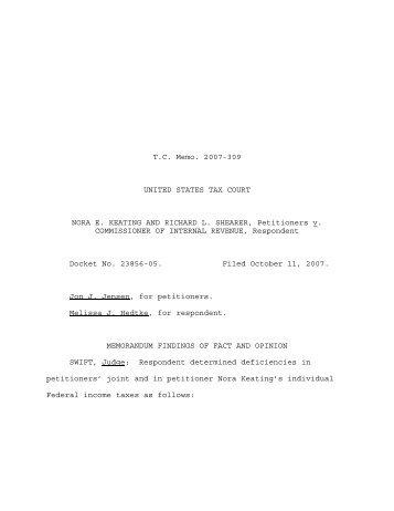 TC Memo. 2007-309 - U.S. Tax Court