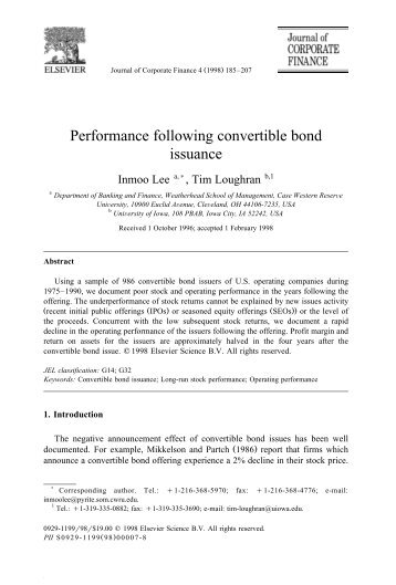Performance following convertible bond issuance