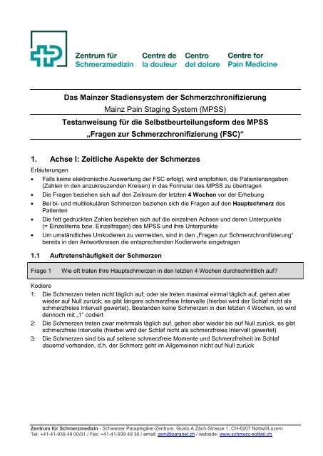 Fragebogen zur Schmerzchronifizierung (PDF, 180 KB) - Schweizer ...