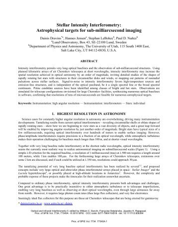 Stellar Intensity Interferometry: Astrophysical ... - Lund Observatory