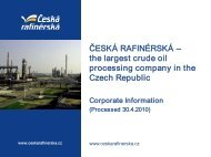 Basic information about company 2010 - Česká rafinérská, as