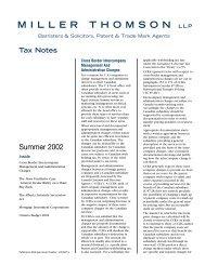 Cross Border Intercompany Management and ... - Miller Thomson