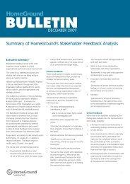 Summary of HomeGround's Stakeholder feedback analysis (2008)